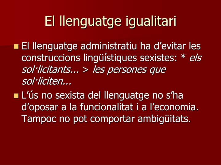 El llenguatge igualitari