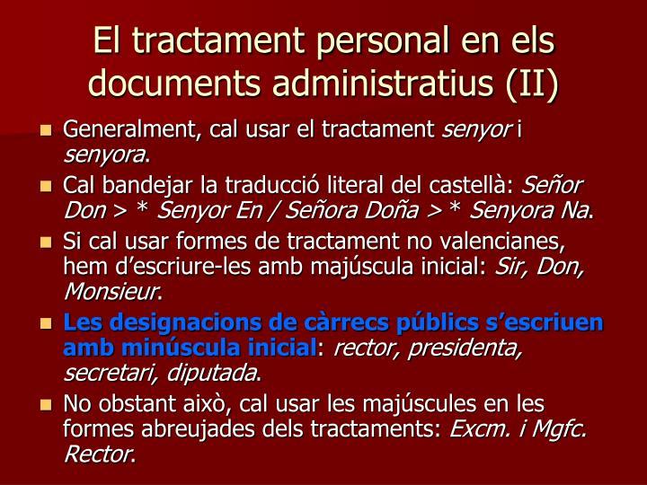 El tractament personal en els documents administratius (II)
