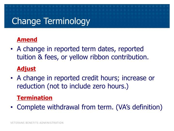 Change Terminology