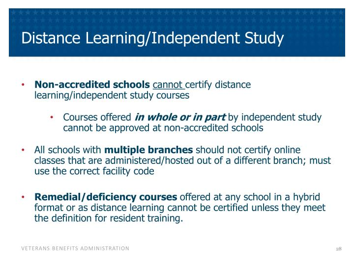 Distance Learning/Independent Study