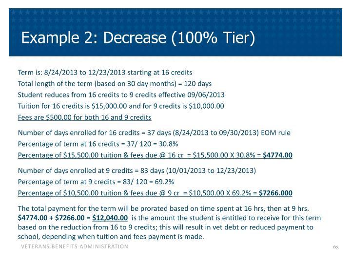 Example 2: Decrease (100% Tier)