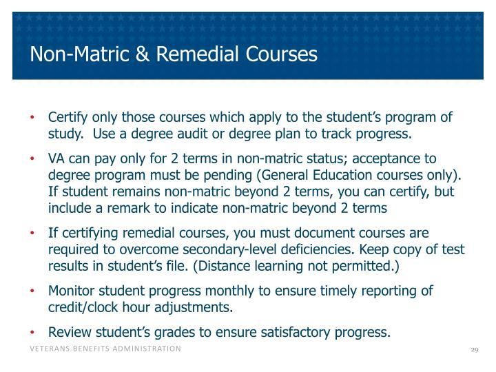 Non-Matric & Remedial Courses