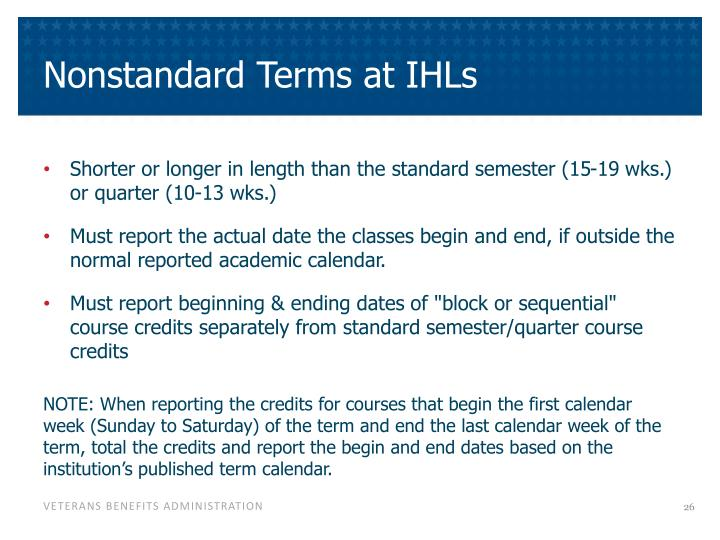 Nonstandard Terms at IHLs