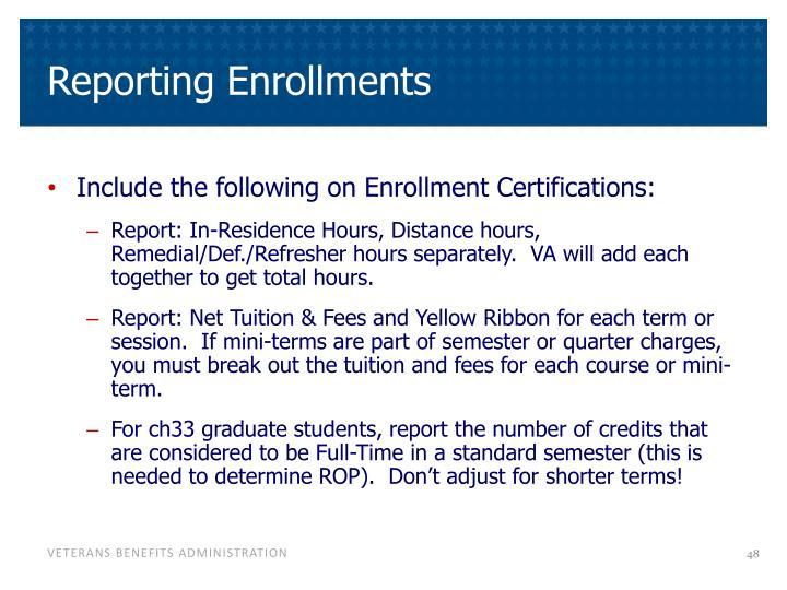 Reporting Enrollments
