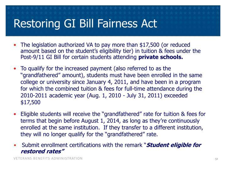 Restoring GI Bill Fairness Act