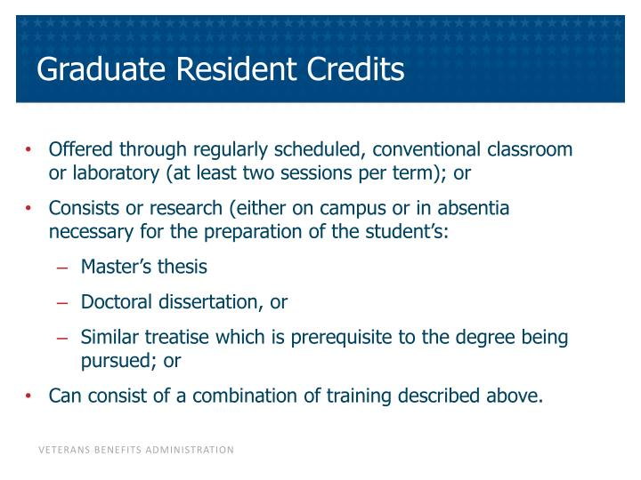 Graduate Resident Credits