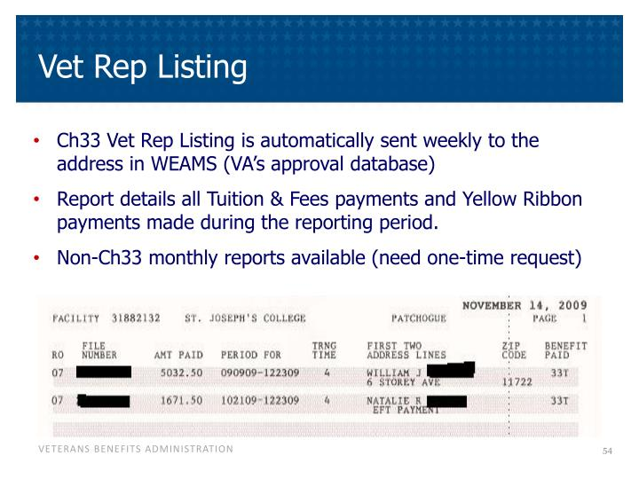 Vet Rep Listing