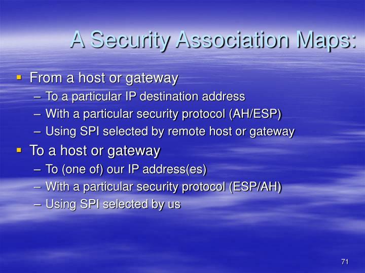 A Security Association Maps: