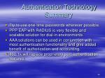 authentication technology summary