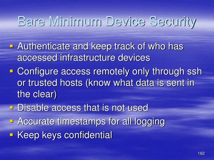 Bare Minimum Device Security