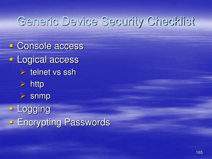 Generic Device Security Checklist