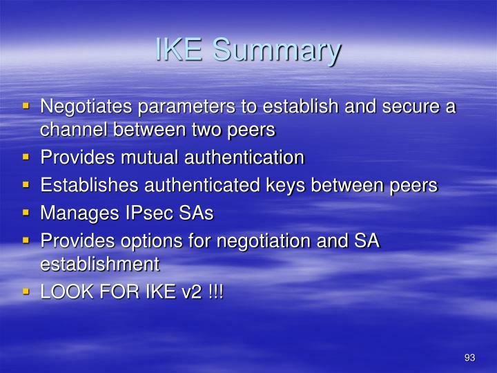 IKE Summary