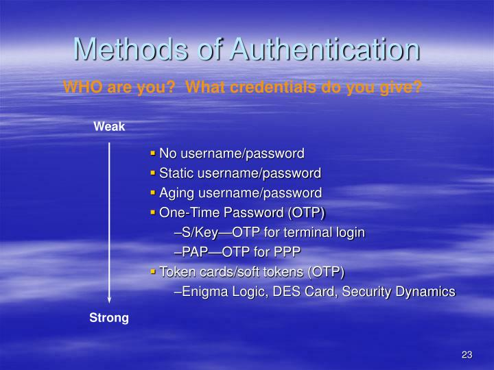 Methods of Authentication