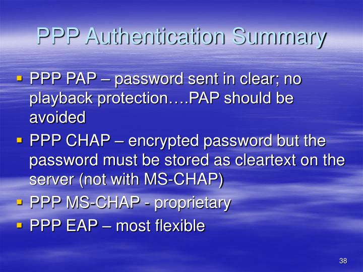 PPP Authentication Summary