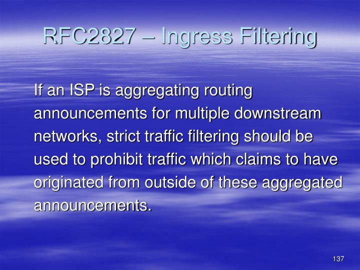 RFC2827 – Ingress Filtering