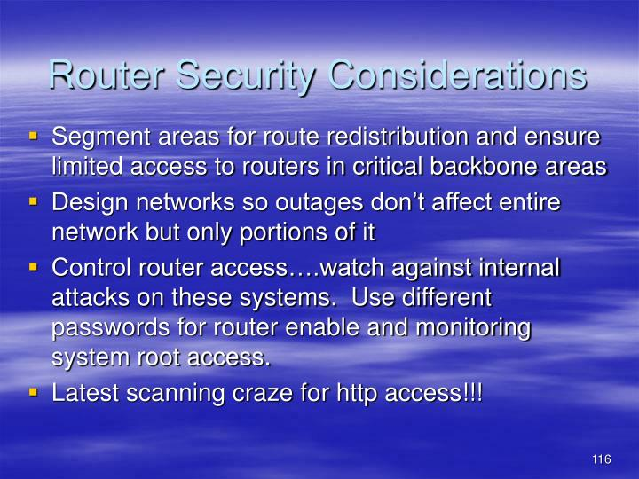 Router Security Considerations