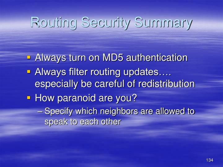 Routing Security Summary