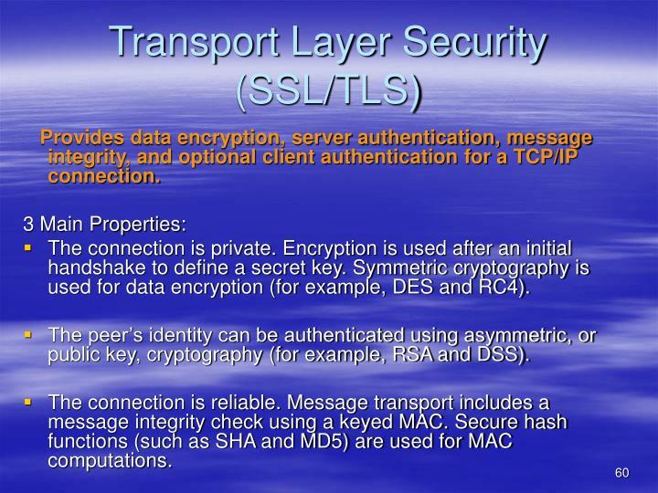Transport Layer Security (SSL/TLS)