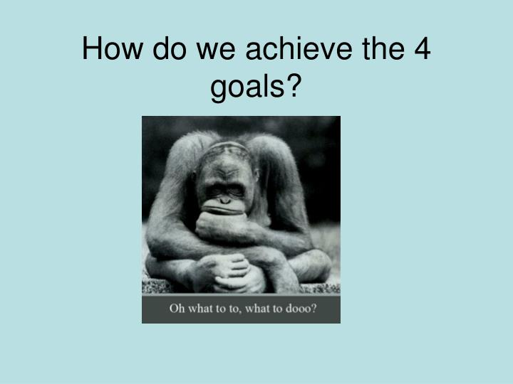 How do we achieve the 4 goals?