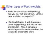 other types of psychologists