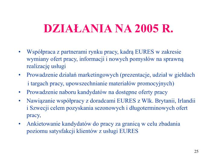 DZIAŁANIA NA 2005 R.