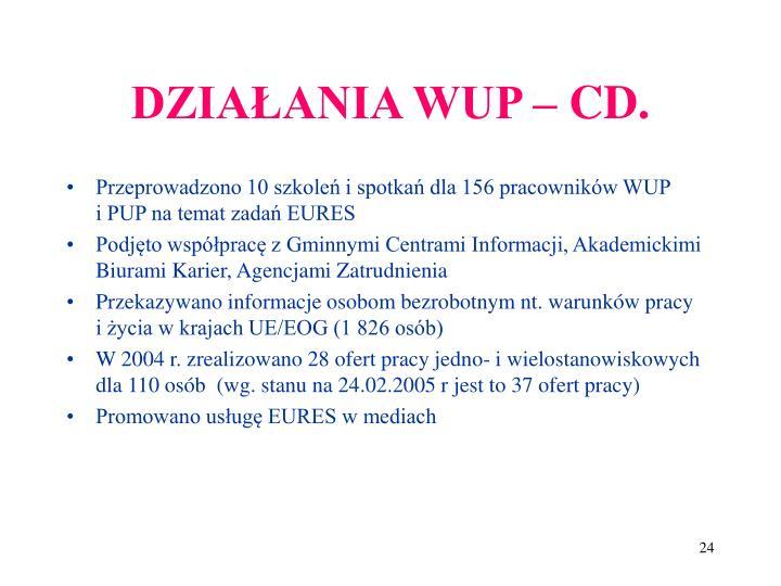 DZIAŁANIA WUP – CD.