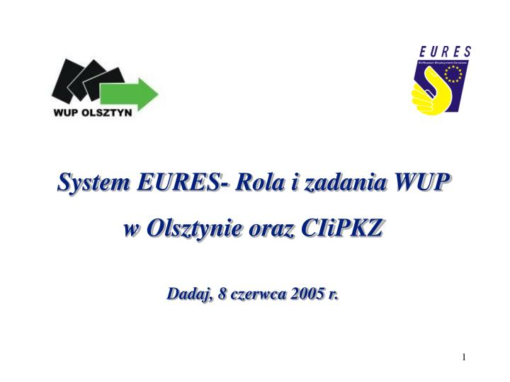 System EURES- Rola i zadania WUP
