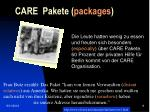 care pakete packages