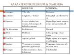karakteristik delirium demensia