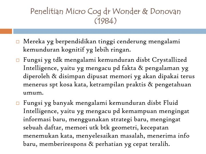 Penelitian Micro Cog dr Wonder & Donovan