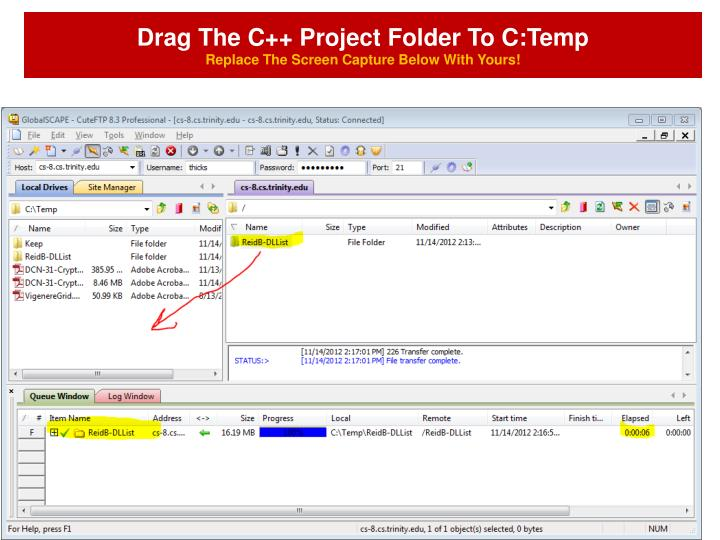 Drag The C++ Project Folder To C:Temp