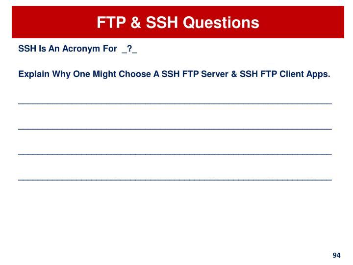 FTP & SSH Questions