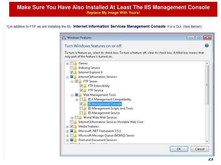 Make Sure You Have Also Installed At Least The IIS Management Console