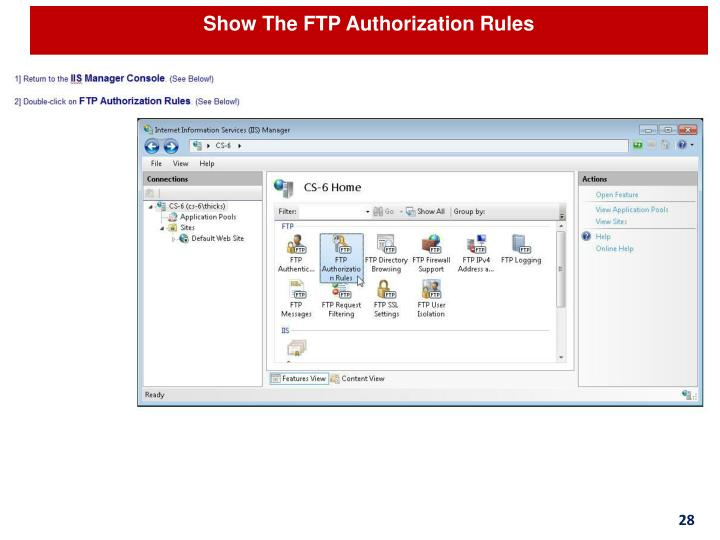 Show The FTP Authorization Rules
