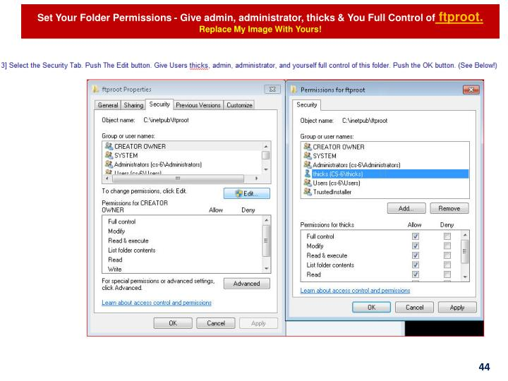 Set Your Folder Permissions - Give admin, administrator,