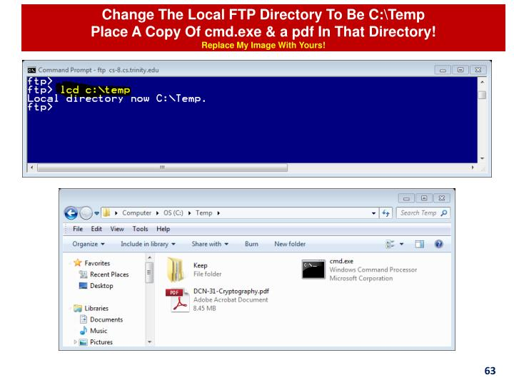 Change The Local FTP Directory To Be C:\Temp