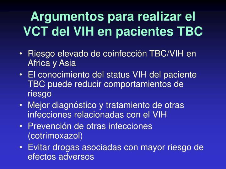 Argumentos para realizar el VCT del VIH en pacientes TBC