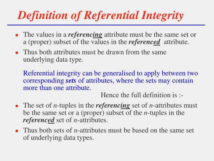 Definition of Referential Integrity