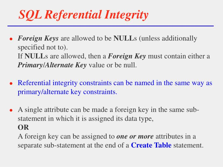 SQL Referential Integrity