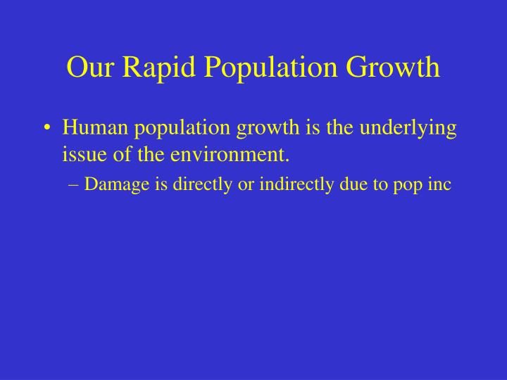 Our Rapid Population Growth