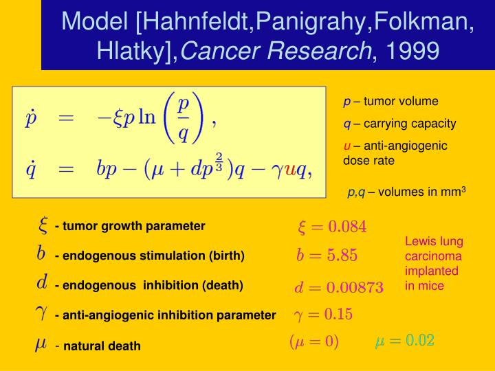 - tumor growth parameter