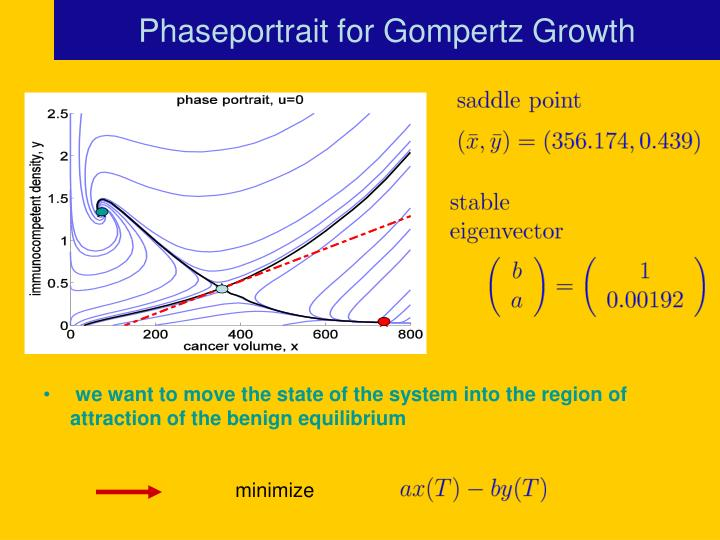 Phaseportrait for Gompertz Growth