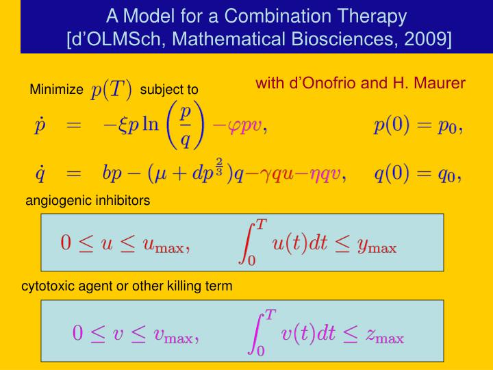 A Model for a Combination Therapy
