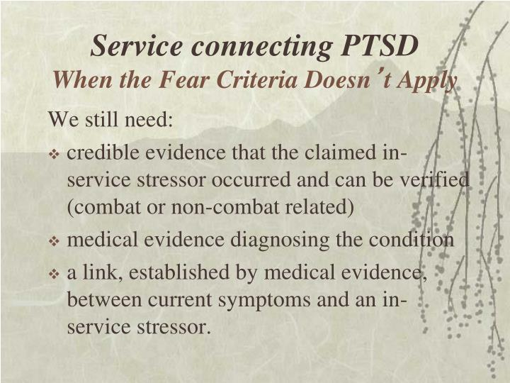Service connecting PTSD