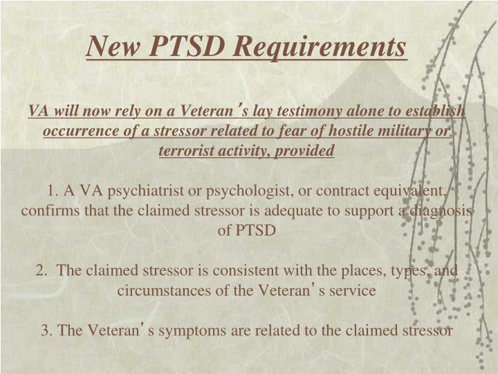 New PTSD Requirements