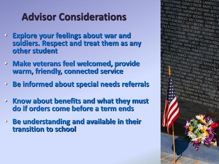 Advisor Considerations