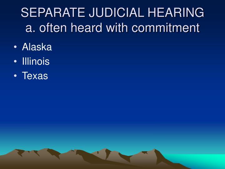 SEPARATE JUDICIAL HEARING