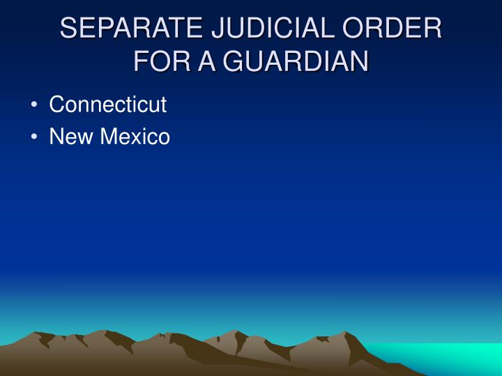 SEPARATE JUDICIAL ORDER FOR A GUARDIAN