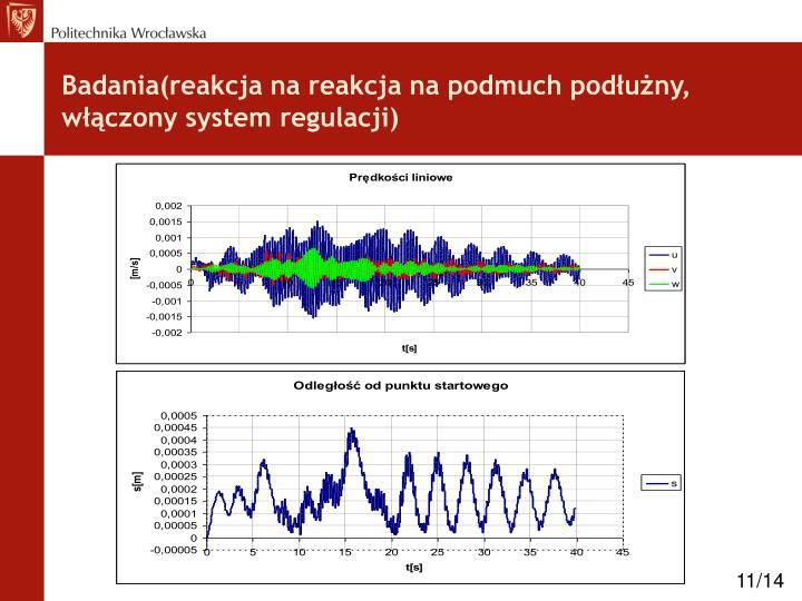 Badania(reakcja na reakcja na podmuch podłużny, włączony system regulacji)