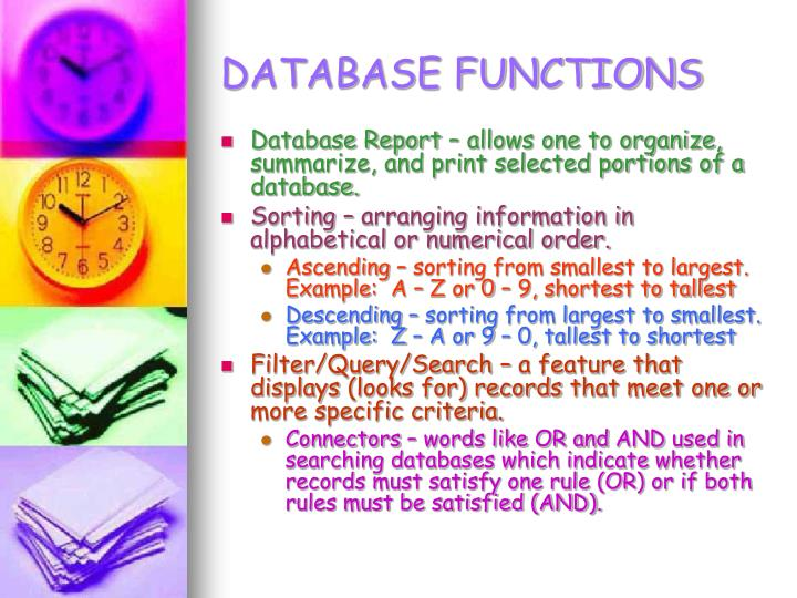 DATABASE FUNCTIONS